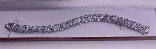 Sterling 215cttw Genuine Tanzanite Bracelet