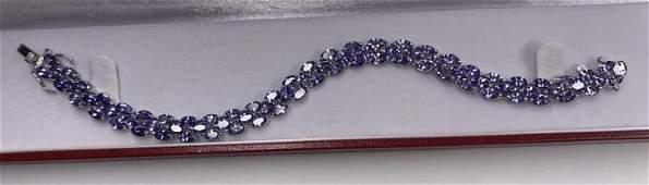 Sterling Silver 17cttw Genuine Tanzanite Bracelet