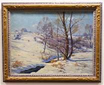 "Frank Dudley ""Thru Drifted Snow"" Oil On Canvas"