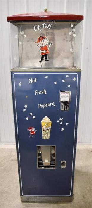 Restored Vintage Coin Op Popcorn Vending Machine