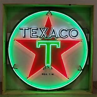 Vintage 6Ft Porcelain Texaco Neon Advertising Sign