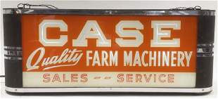 Early Case Farm Machinery Lighted Glass Adv Sign