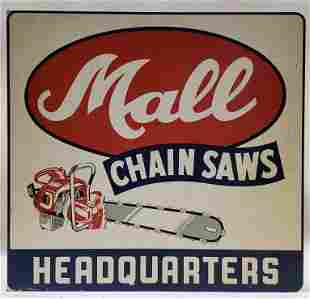 Vintage Mall Chain Saws Advertising Flange Sign