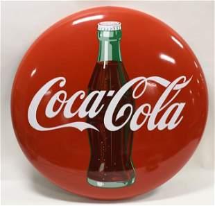"36"" SSP Coca-Cola Button Advertising Bottle Sign"