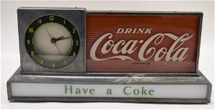 Vintage Coca-Cola Glass Lighted Countertop Clock