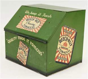 Early Beech-Nut Chewing Tobacco Countertop Tin Bin