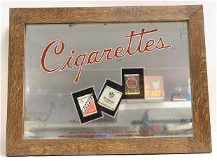 Vintage Cigarettes Glass Mirror Advertising Sign