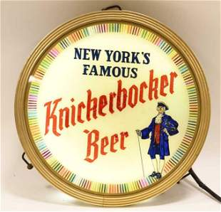 Vtg Knickerbocker Beer Lighted Glass Spinner Sign