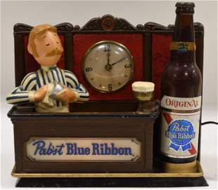 Vtg Cast Metal Pabst Blue Ribbon Lighted Bar Clock
