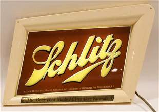 Vtg Schlitz Beer Lighted Glass Advertising Sign