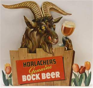 Vintage Horlacher's Bock Beer Die-cut Adv Sign