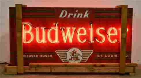 Early DSP Budweiser Beer Bullnose Neon Adv Sign