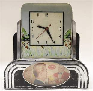 Early Art Deco Falls City Beer Lighted Adv Clock