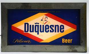 Early Duquesne Beer Glass Lighted Advertising Sign