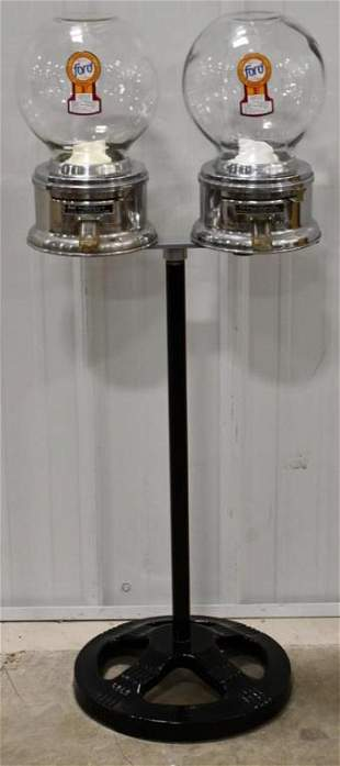 Vintage Double 1¢ Ford Gumball Machines On Stand