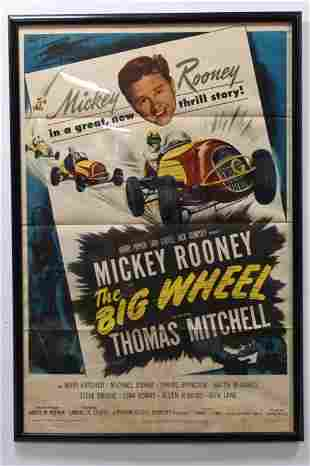 """1949 Mickey Rooney """"The Big Wheel"""" Movie Poster"""