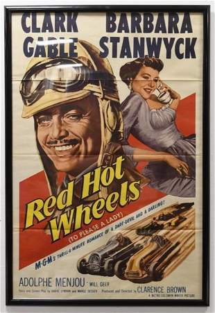 "1961 Clark Gable ""Red Hot Wheels"" Movie Poster"