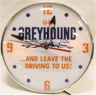 Greyhound Bus Lighted Advertising Clock