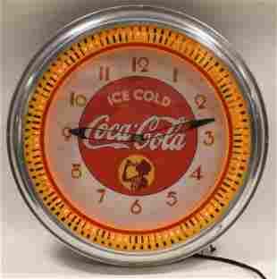 Contemporary Coca-Cola Neon Spinner Adv Clock