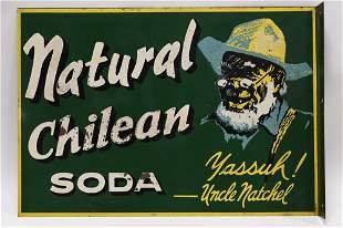 Vintage DST Flange Natural Chilean Soda Adv Sign
