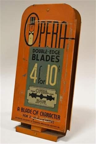 Vintage Opera Shaving Blades Metal Store Display