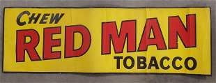Early Red Man Chewing Tobacco Paper Adv Banner
