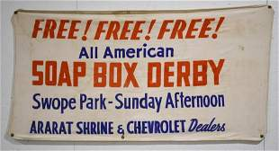 Vintage Chevrolet Promo Soap Box Derby Banner