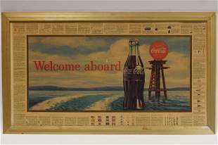 Vtg Coca-Cola Cruise Ship Safety Guidelines Sign