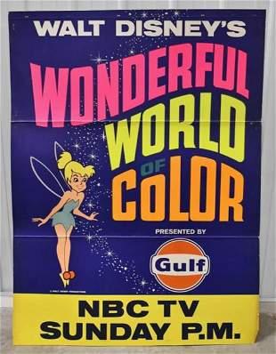 Vintage Gulf Gasoline / Walt Disney Cardstock Sign