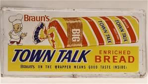 Vintage SST Embossed Braun's Bread Adv Sign