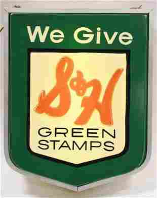 Vintage DS Lighted S&H Green Stamps Adv Sign