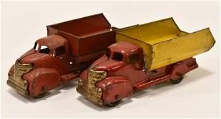 (2) Marx Pressed Steel Dump Trucks