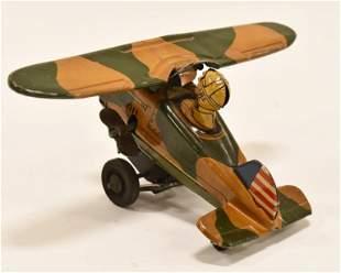 Marx Tin Litho Windup Army Flip Over Plane