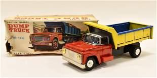 Japan Tin Friction Ford F-800 Dump Truck w/ Box