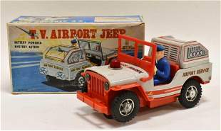 Junior Products Tin Battery Op. T.V. Airport Jeep