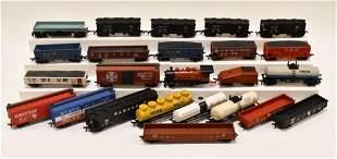 Large Lot Of HO Scale Train Cars AHM Tyco PlayArt