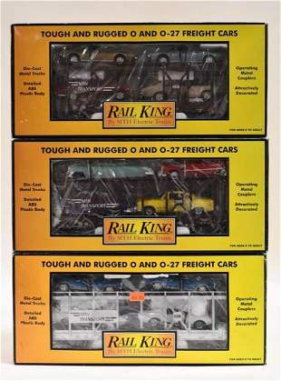(3) MTH Railking Auto Transport Auto Carrier Cars