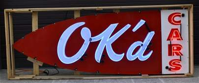 Large SSP OK'd Cars Neon Advertising Sign