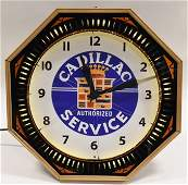 Cadillac Authorized Service Neon Spinner Clock
