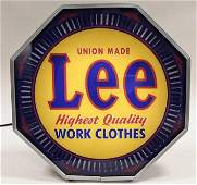 Restored Lee Work Clothes Neon Spinner Glass Sign