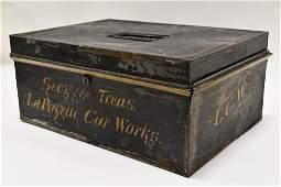 Early LaFayette Car Works Tin Locking Money Box