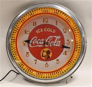 "20"" Coca-Cola Neon Spinner Illusion Wheel Clock"