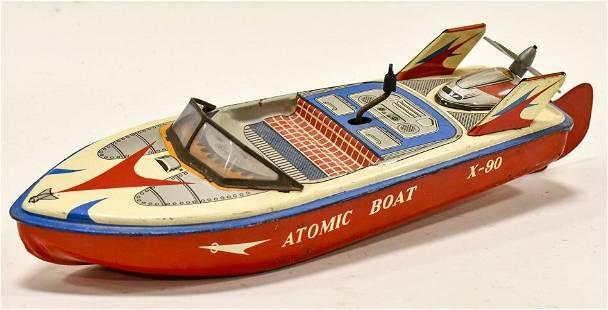 ET Japan Tin Litho Friction Atomic Boat X-90