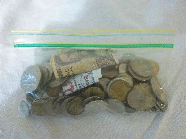 15: Bag of Foregin Coins, Some Silver