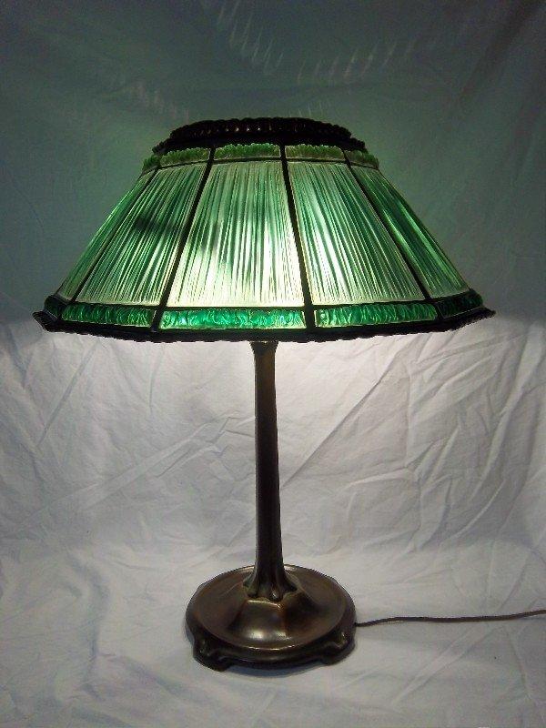 "100: Tiffany Studios Green Linenfold Lamp, 18.5"" Shade"