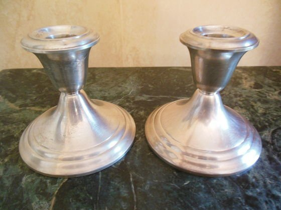 1008A: Sterling Silver Weighted Candlestick Holders