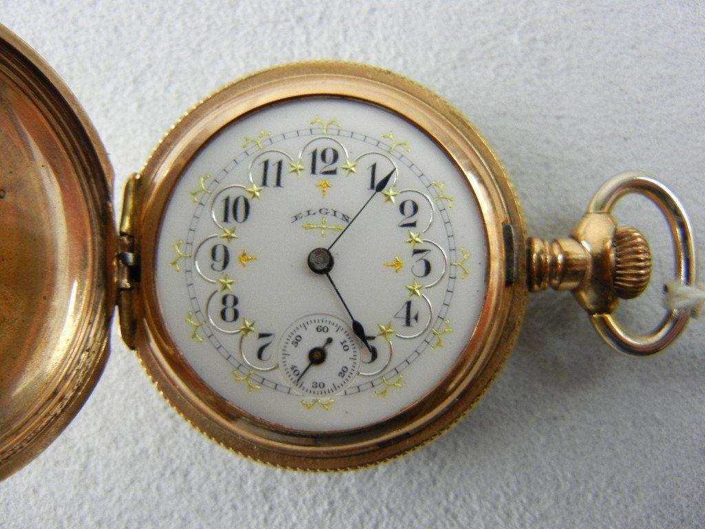 1095: Elgin Ladies 14K Gold Hunting Case, Fancy Face, P