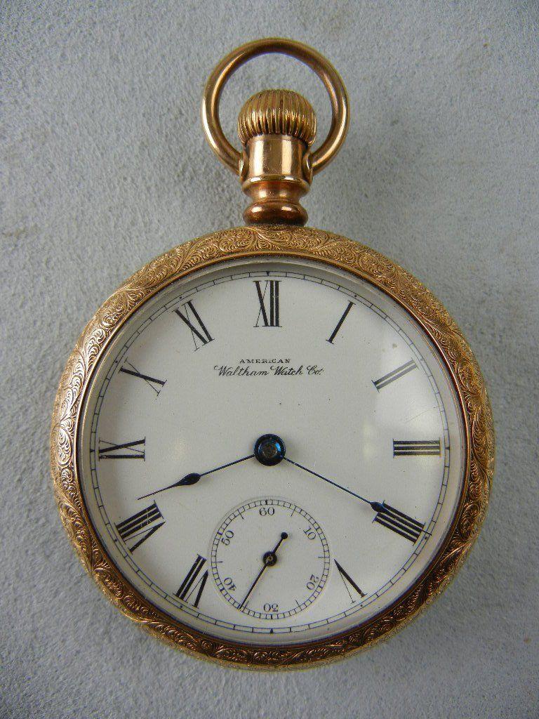 1096: American Waltham Open Face Gold Filled Pocket Wat