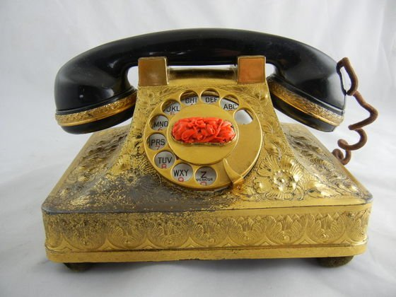 1124A: Bensabott Sterling Silver Telephone with Coral D