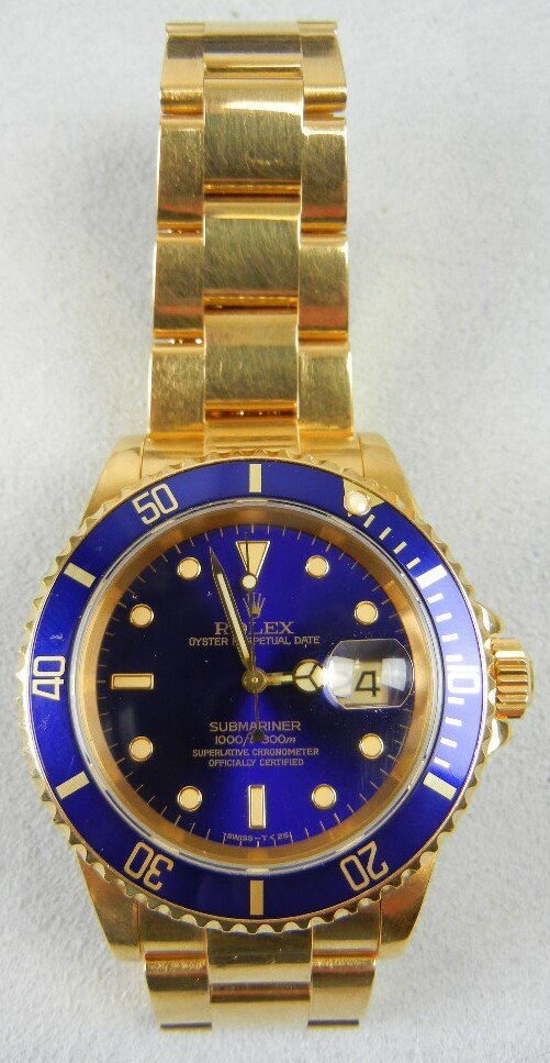 1140: Men's Rolex 18K Gold Submariner Oyster Perpetual